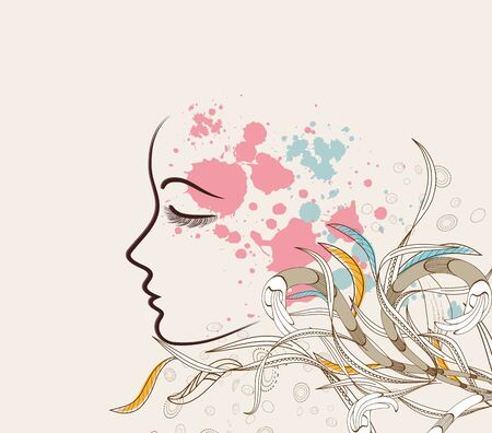 Beautiful doodle girl silhouette with floral ornaments Vector