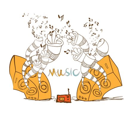 linework: music speakers design Illustration
