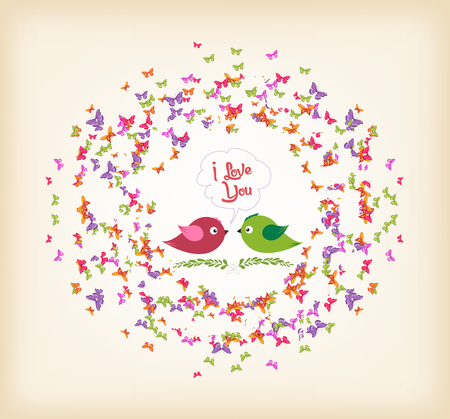 spring with butterflies and couple bird the wreath Illustration