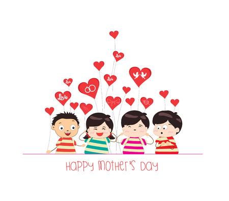 happy mother day with kid funny Ilustração