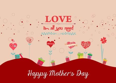 mothers day background: happy mothers day background with trees heart