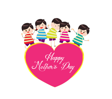 happy mother day with kids