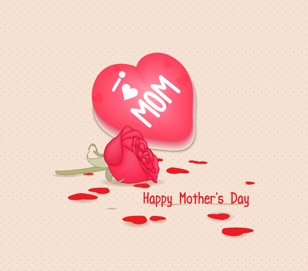 Happy mothers day with heart and flowers Illustration
