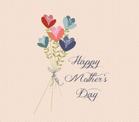 mothers day Flower Bouquets retro Vector