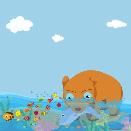 bears fishing in the sea photo