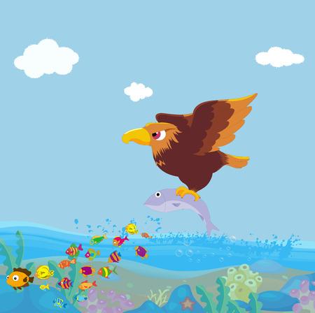 bird of prey: Bird of prey fishing Stock Photo