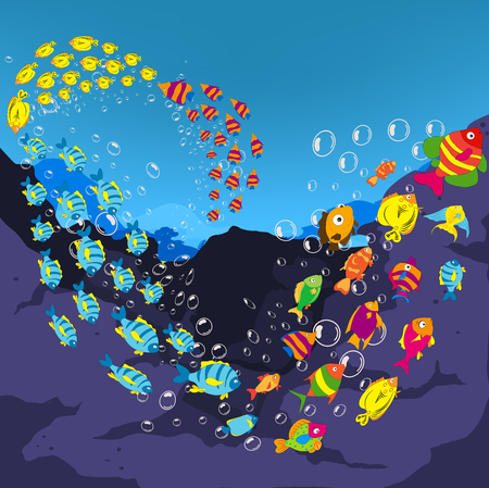 moray: Underwater world, cartoon Stock Photo