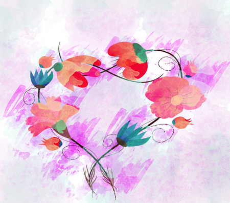 multiple stains: Watercolor painting, flower Stock Photo