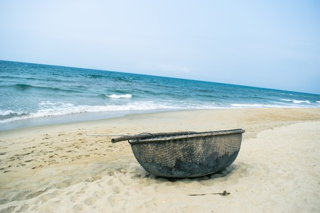 landscape scene: Picturesque sea landscape with tribal boat Stock Photo