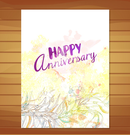 anniversary card: happy anniversary card. Watercolor flower background Stock Photo