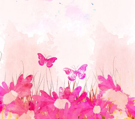 watercolor butterflies and flower background photo