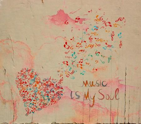funk music: watercolor music heart