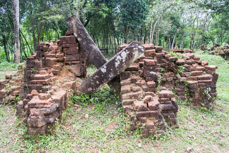 social history: Ruined temple of the ancient Champa in My Son, Quang Nam, Vietnam.