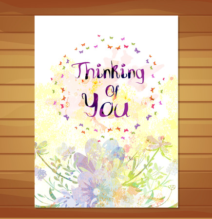 thinking of you: Thinking of you cards. Watercolor flower background Stock Photo