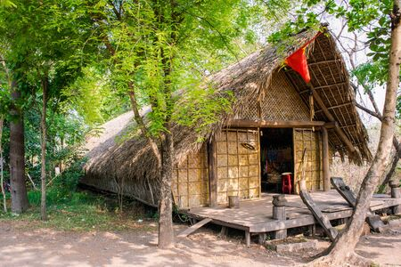 aisa: house of people at Daklak province, Vietnam. Houses usually make by wood Stock Photo