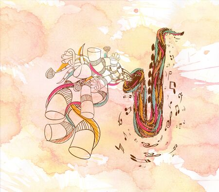 watercolor Jazz Saxophone Stock Photo