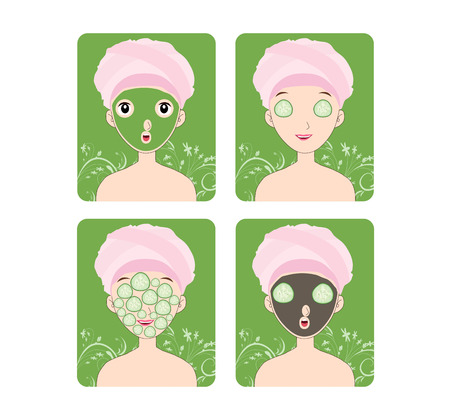 hair mask: Woman with facial mask and cosmetics Illustration