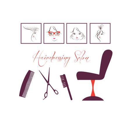 permanent wave: hair theme salon Illustration