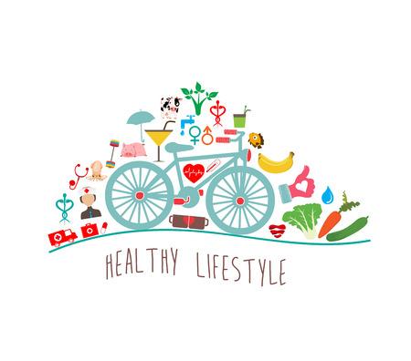 vida sana: Estilo de vida saludable Fondo Vectores
