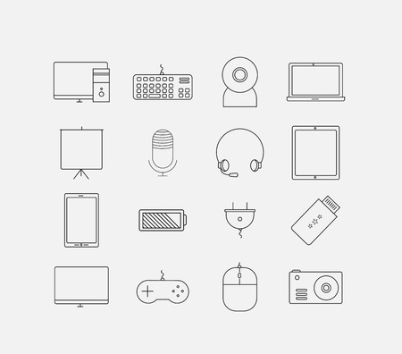 electronic device: Thin electronic computer device icon set