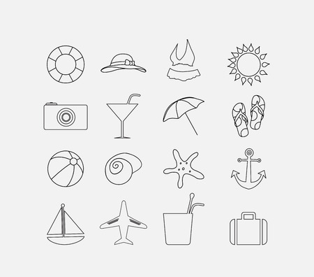 Thin summer icon set Vector