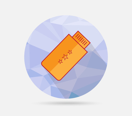 Flat USB icon on geometric background Vector
