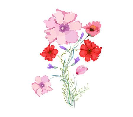 eywords background: Original watercolor illustration with flowers Illustration