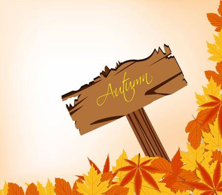 autumn leaves concept with sign post Vector