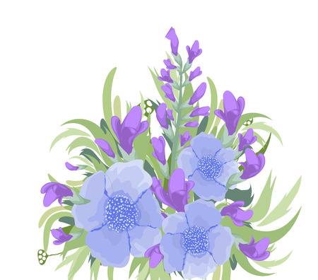 eywords background: Floral purple background Bouquet Illustration