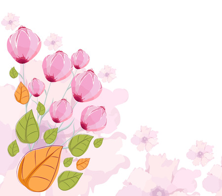 eywords background: Floral summer design with abstract flowers handpainted Illustration