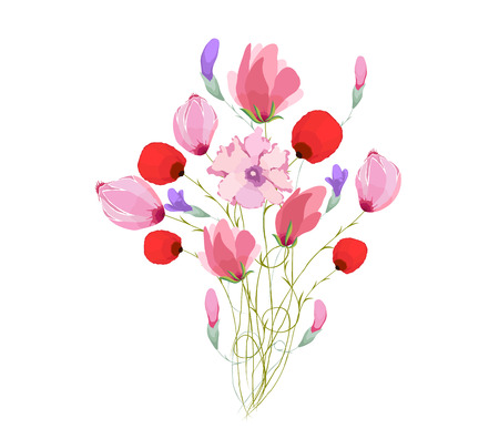eywords background: Watercolor Bouquet of tulips in Pink