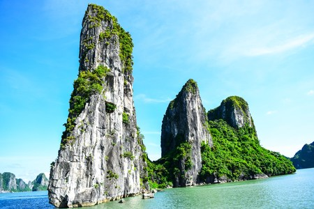 halong: Limestone rocks in Halong Bay Vietnam Stock Photo