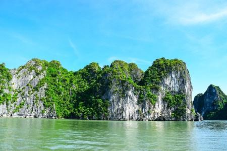 halong: Limestone rocks in Halong Bay, Vietnam Stock Photo