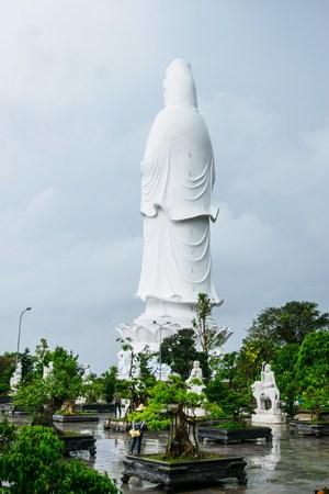 goddess of mercy: The statue of buddha ( goddess of mercy - Quan Am ) in Linh Ung Pagoda, Da Nang, Vietnam Stock Photo