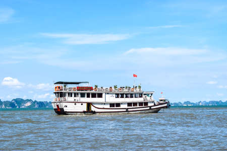 long bay: Pier in Thien Cung Cave Island. Ha Long Bay, Vietnam