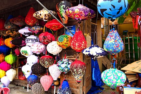 hoi an: Handcrafted lanterns in ancient town Hoi An, Vietnam Editorial