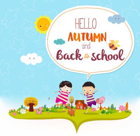 addio: Addio estate. Ciao autunno divertente e felice bambini sorridenti