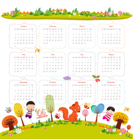 hi back: calendar for 2016 with cartoon and funny animals and kids. Hello autumn