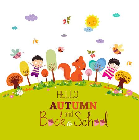 Goodbye summer. enjoy happy smiling girls and boys autumn round ground background