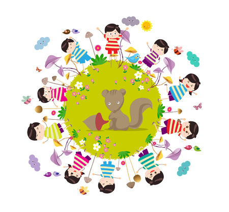 hi end: Happy autumn. Bright background with funny animals and happy kids on the ground round m