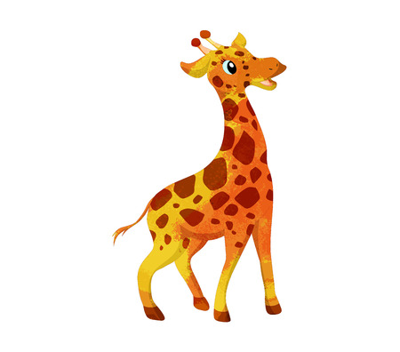white background giraffe: Colorful watercolor isolated on white background giraffe Illustration