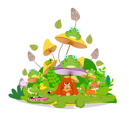 hi end: Funny animals stay together in the mushroom