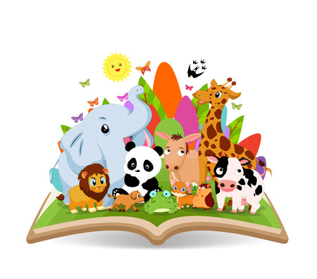 hi end: Funny Cartoon Animal in the forest on the book