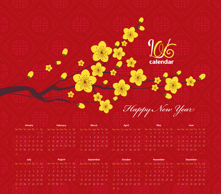 chinese flower: Chinese new year calendar 2016 Cherry Blossom