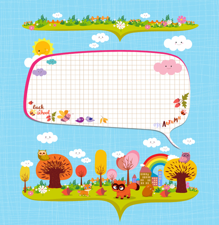hi back: An autumn design elements for notebooks for kids.