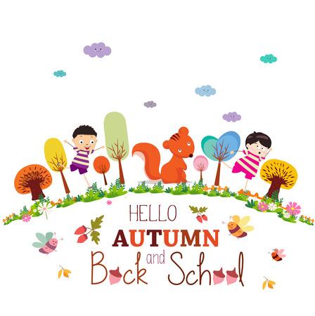 addio: Addio estate. godere sorridente felice ragazze e ragazzi autunno terra rotonda sfondo Vettoriali