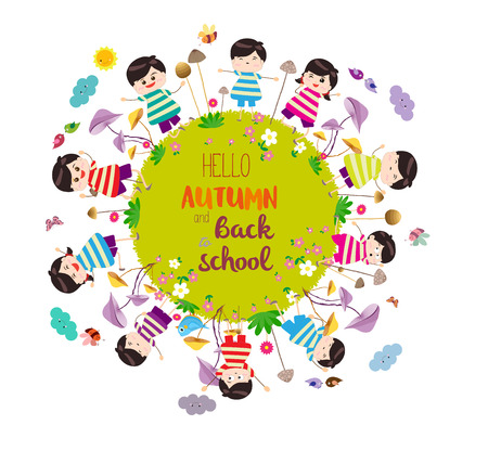 Happy autumn and back to school. Bright background with funny animals and happy kids on the ground round m Illusztráció