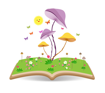 nature vector: Mushroom gardens and lawns on the book