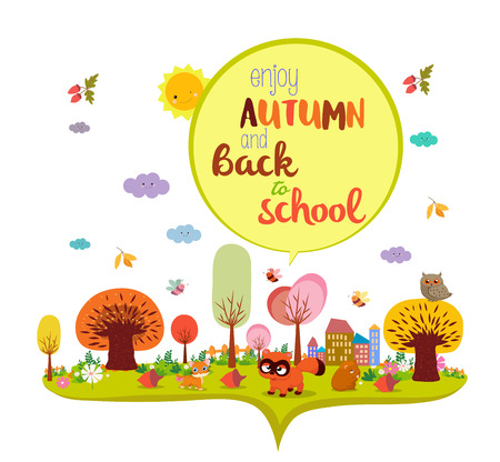 hi end: enjoy autumn and back to school. autumn background banner