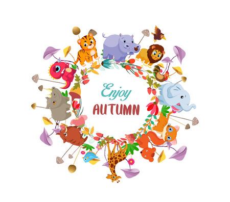 hi end: Goodbye summer. Hello autumn background with round ground animals